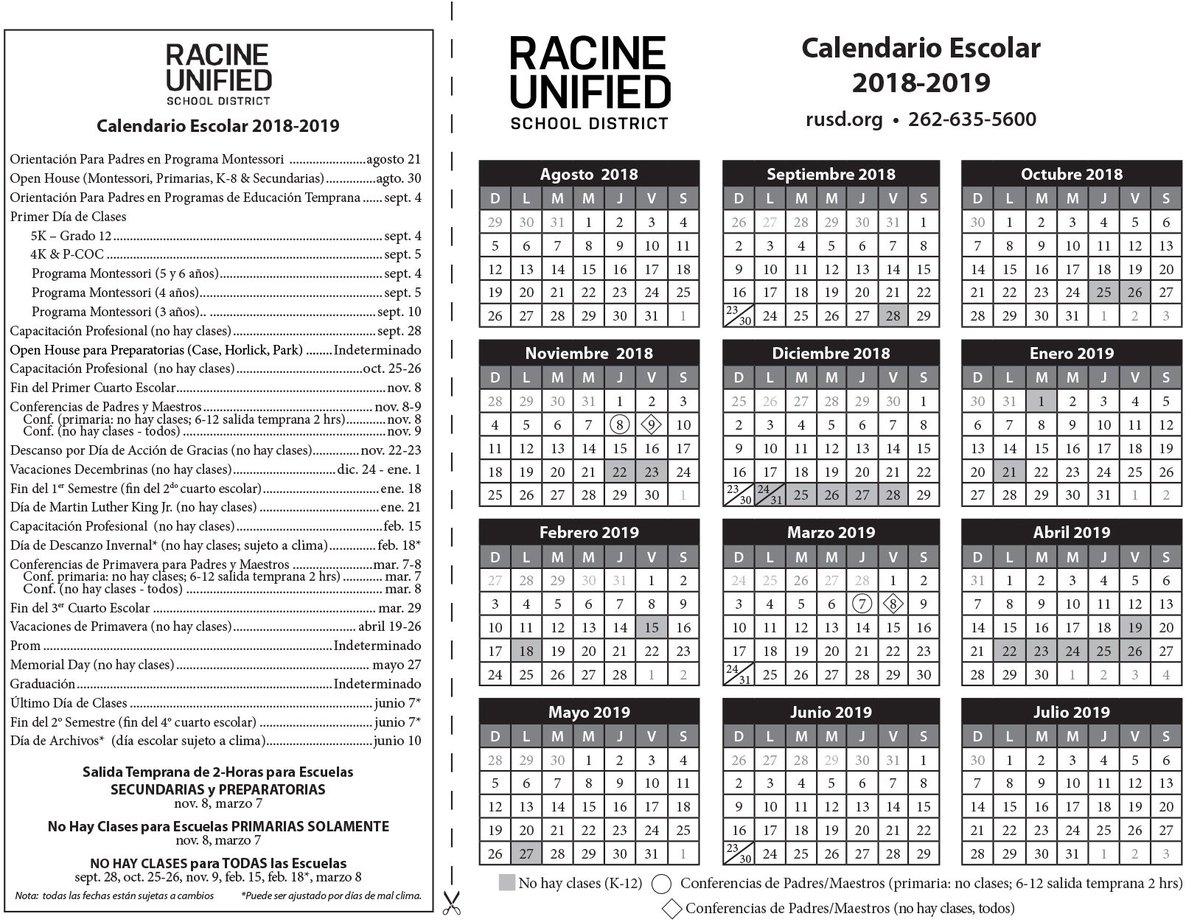 Calendario 2019 English.Racine Unified On Twitter Here Is The 2018 2019 Rusd