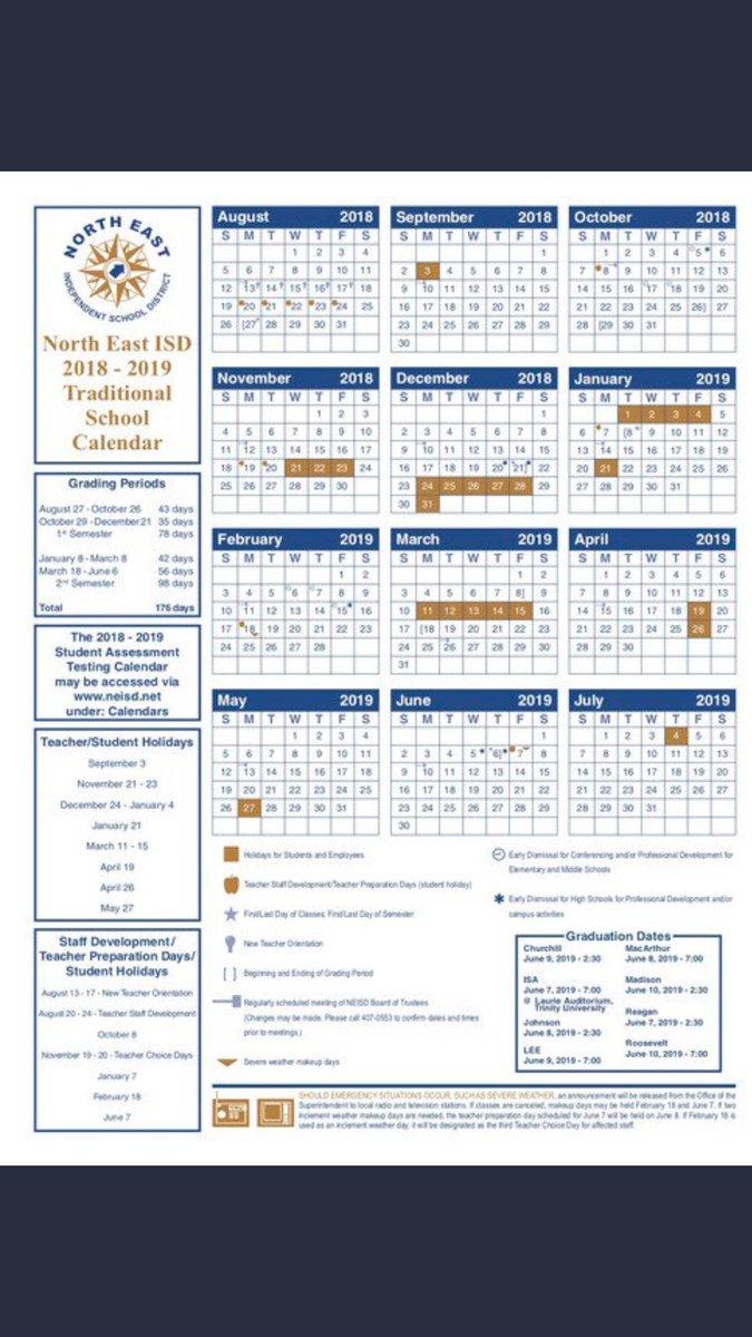 Neisd Calendar 2022.We Are Tr Hs On Twitter Neisd 2018 2019 School Calendar The New Year Begins Very Soon