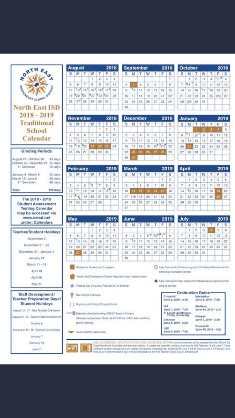 Neisd Calendar 2022 2023.We Are Tr Hs On Twitter Neisd 2018 2019 School Calendar The New Year Begins Very Soon