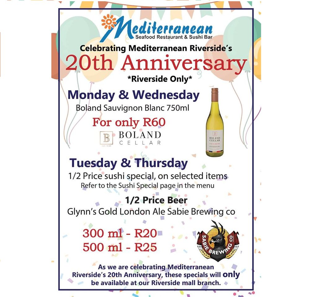 Decide on a day and join the #mediterraneanseafood situated in the @riversidemall, and share in their 20th Anniversary specials! #liveworkshopplay