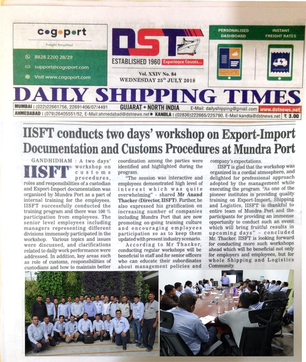 """News article on #DailyShippingTimes highlighting #IISFT conducted """"Two days' workshop on #ExportImport Documentation and #Customs Procedures for #MundraPort employees. #GovernmentApprovedShippingCourses #LogisticsSkillCouncil #LSC #LSCShippingCourses #ShippingCoursesLSC https://t.co/SlNAFBcRTP"""