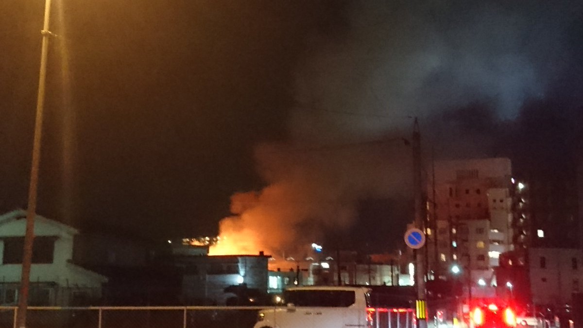 新山口駅前が火事が起きている現場の画像