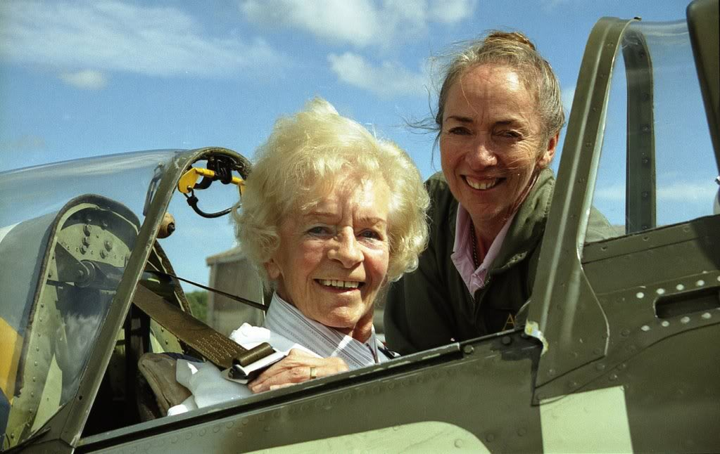 test Twitter Media - Mary Ellis has so sadly died. This is Mary and me about to go flying  in our Spitfire from Sandown Isle of Wight on a glorious sunny day. Now I feel Mary will always be flying in a Spitfire on a sunny day just as she would wish to be https://t.co/r5SyTi88lY