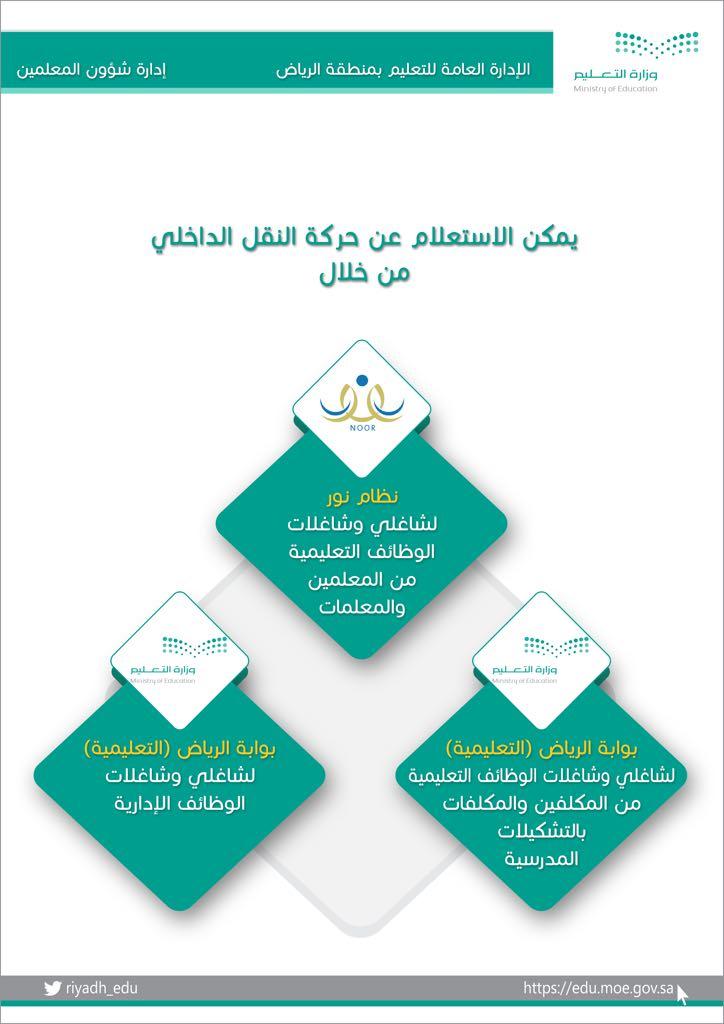 إدارة تعليم الرياض Twitterren يمكن الاستعلام عن حركة النقل الداخلي عن طريق