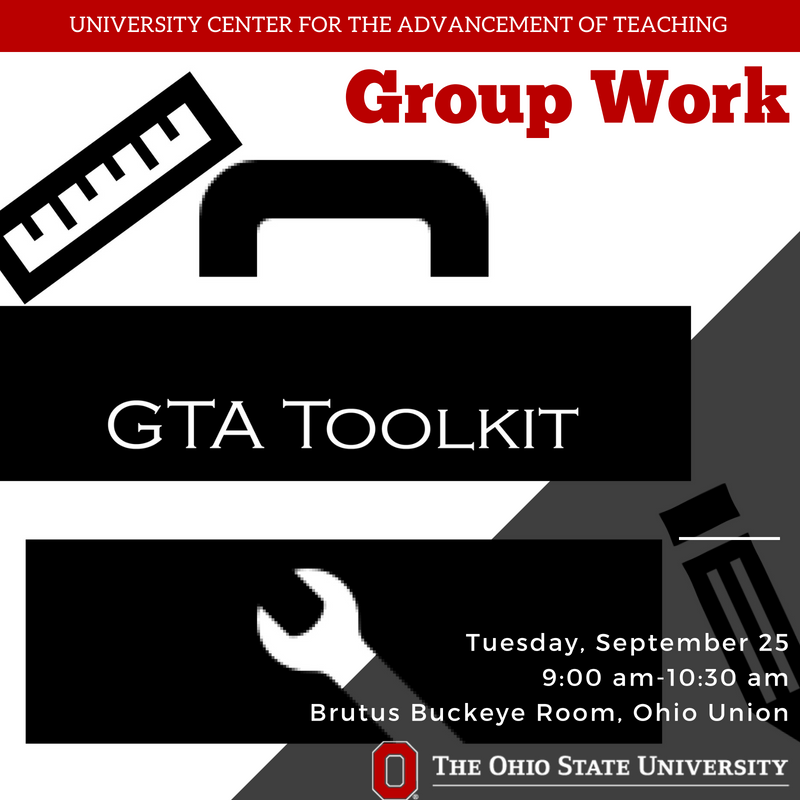 GTAs @OhioState: Group work often sounds like a good idea, but how can you make it work for you? Join us to explore different ways group work benefits student learning. Register: https://t.co/clPGF0ug82