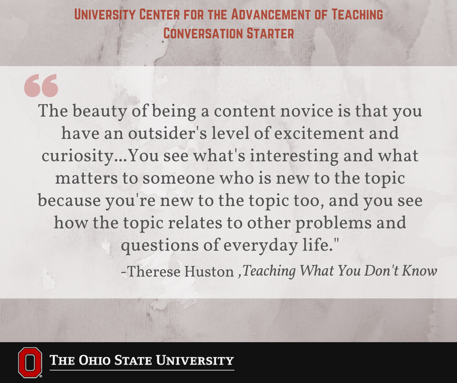Preparing to teach a class in an area outside your expertise can be exciting. You bring a different perspective to the content. #UCATconvo
