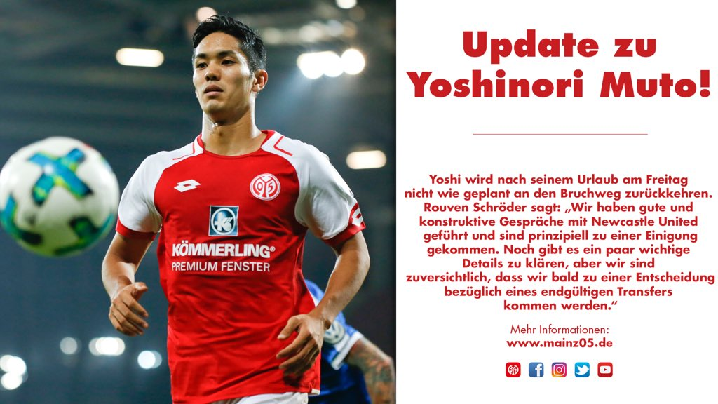 ℹ️ Neuigkeiten von @yoshimuto18 ☝️Der Japaner steht vor einem Wechsel von #Mainz05 zu @NUFC