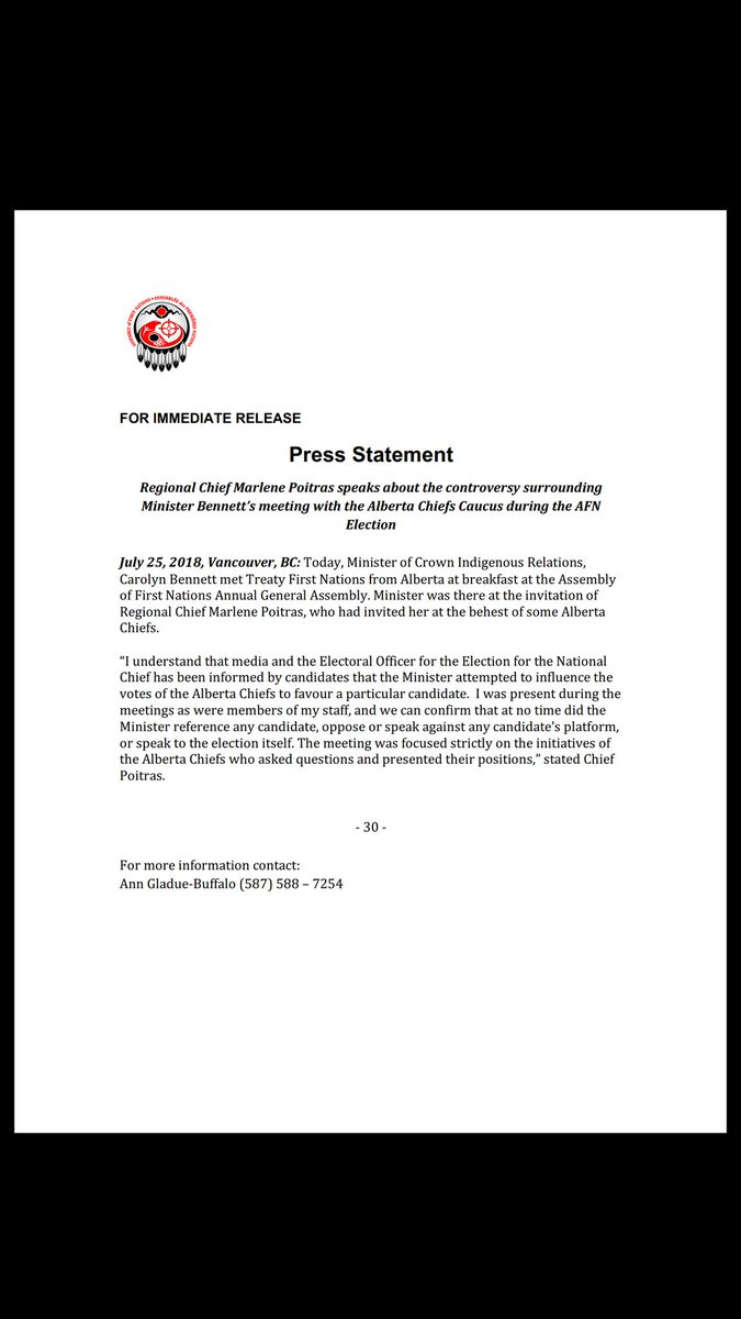 ICYMI - Statement from Regional Chief Poitras on AFN Election controversy over Minister Meeting with Alberta Chiefs