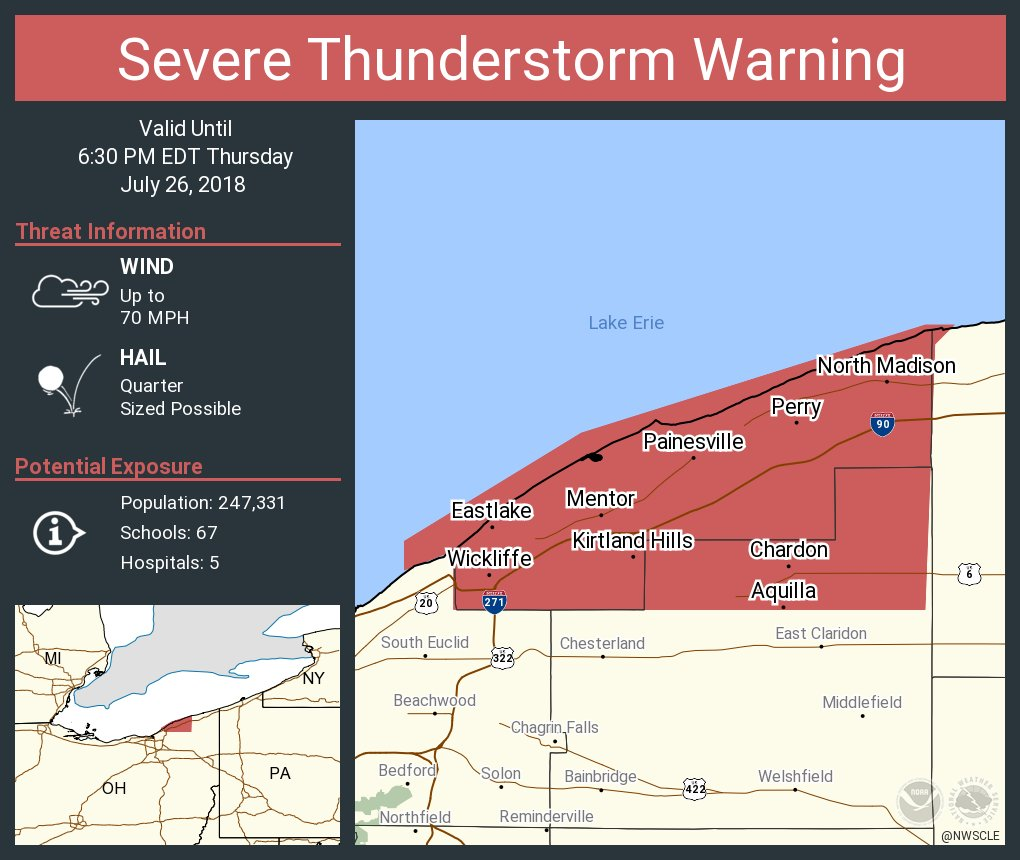 Nws Cleveland On Twitter Severe Thunderstorm Warning Including