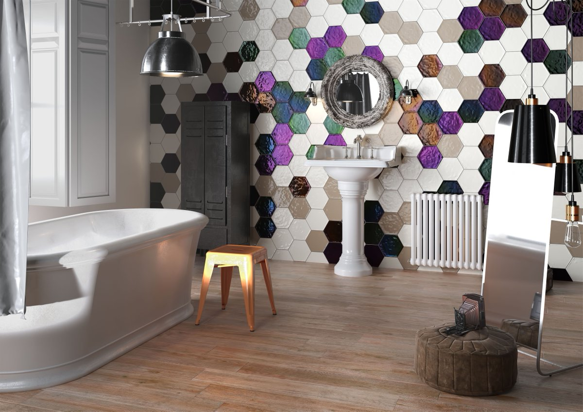 Always wanted a feature wall in your home? This stunning feature wall shows a selection of hexagonal tiles in many colours, perfect to make that statement in your home. outHaus.....&quot;never ordinary&quot; #featurewall #hexagonaltiles # #statementwall #tiles #colourfultiles<br>http://pic.twitter.com/ZhIorebvjM
