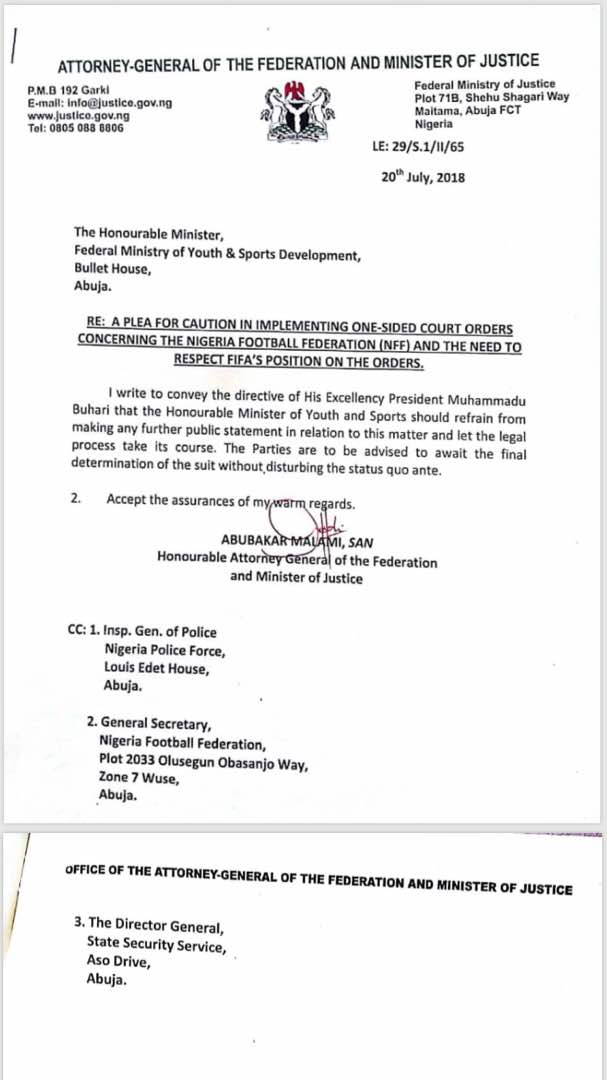 of the agfs letter carrying president mbuharis directive on thenff situation sports minister solomondalung disagrees insists he should have been