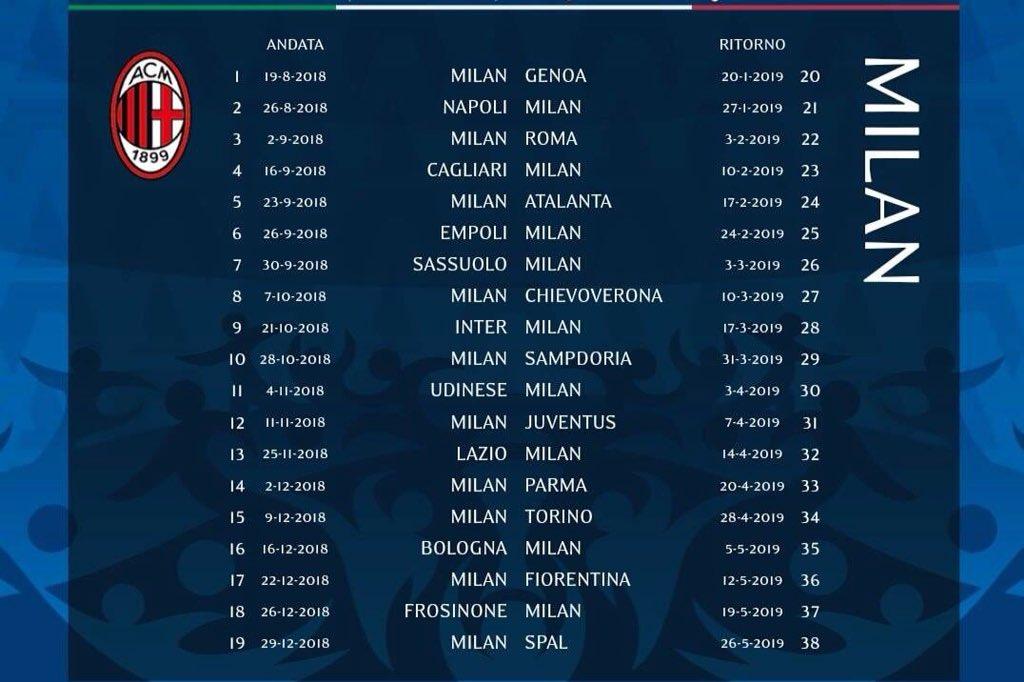 Danilo Vitro Di Twitter Calendario Milan 2018 2019