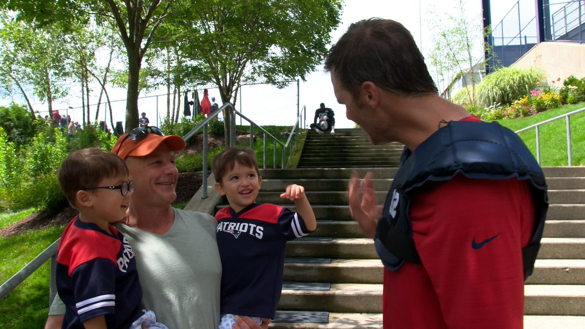 A pair of twin fans showed up at Pats camp Thursday. Their names? Tom and Brady (via @Patriots)