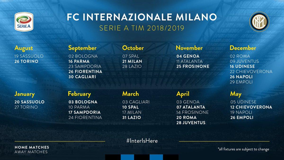 Serie A Calendario Inter.Inter On Twitter Ecco Il Nostro Calendario Completo Della