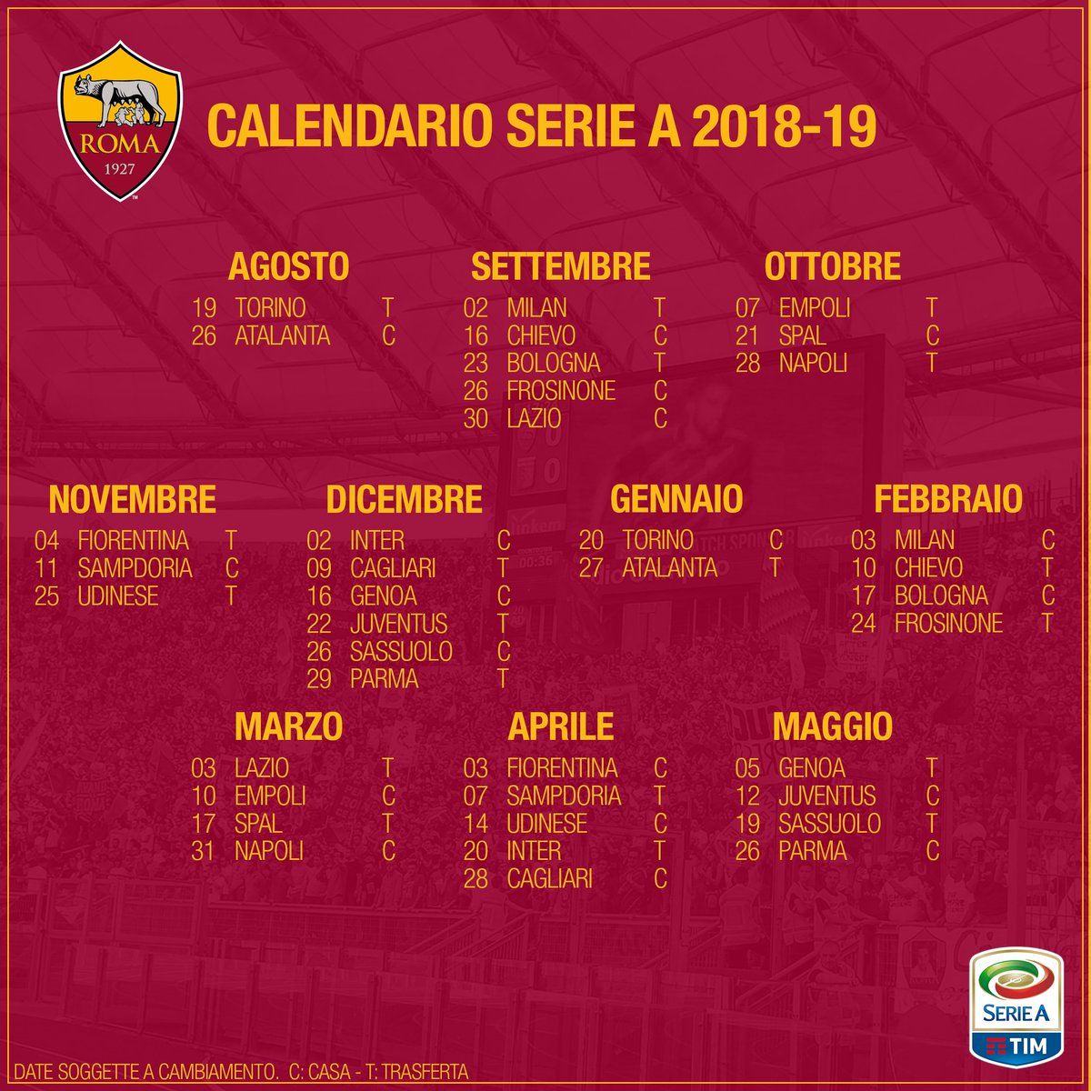 Asroma Calendario.As Roma On Twitter Ecco Il Calendario Completo Della