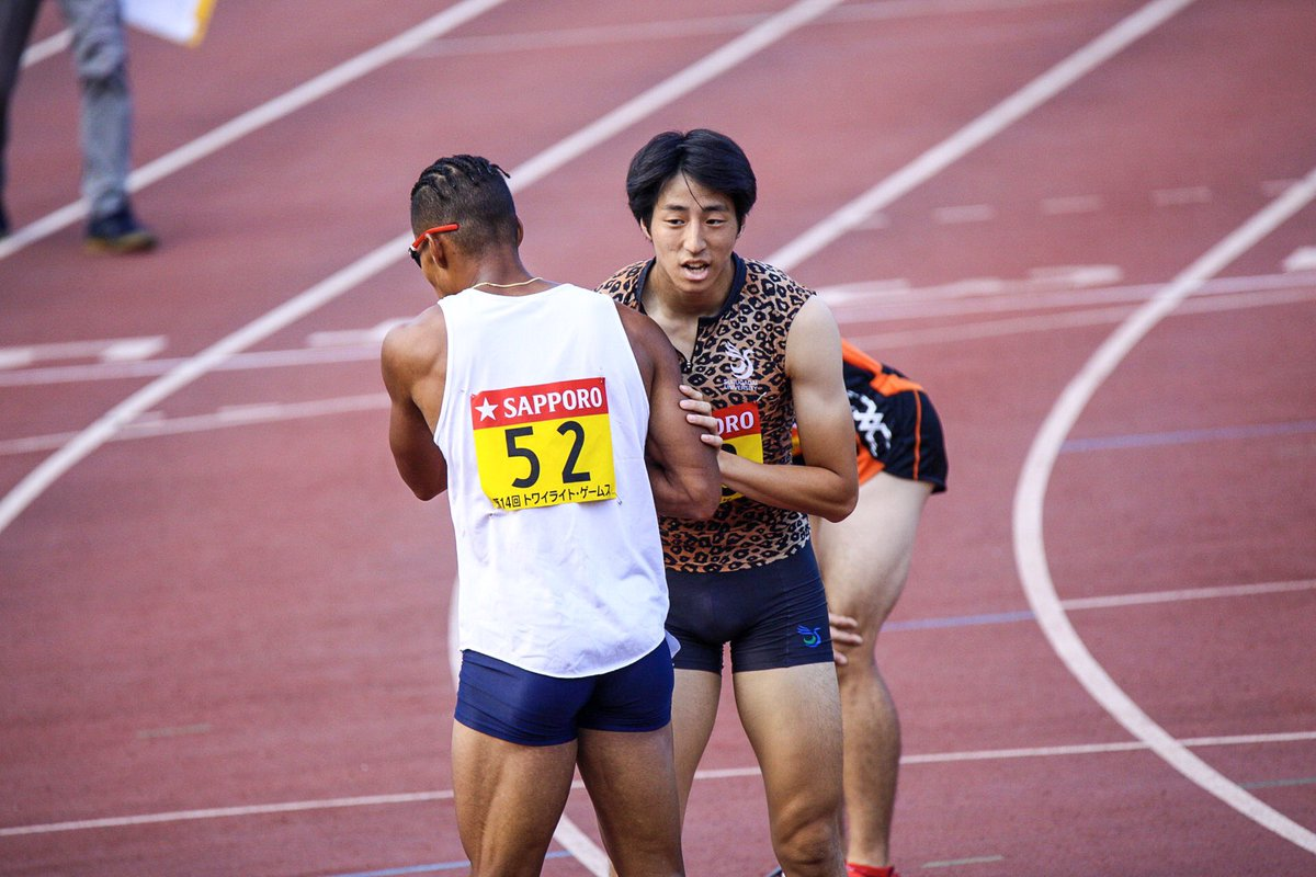 #トワイライトゲームス  男子400m A組  レース後、健闘を讃え合う選手たち✨✨