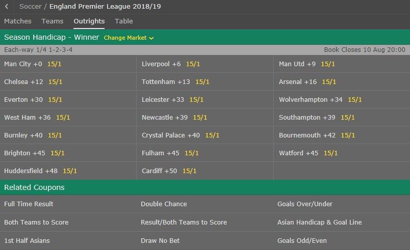 Premier league handicap betting odds anderlecht vs qarabag betting expert sports