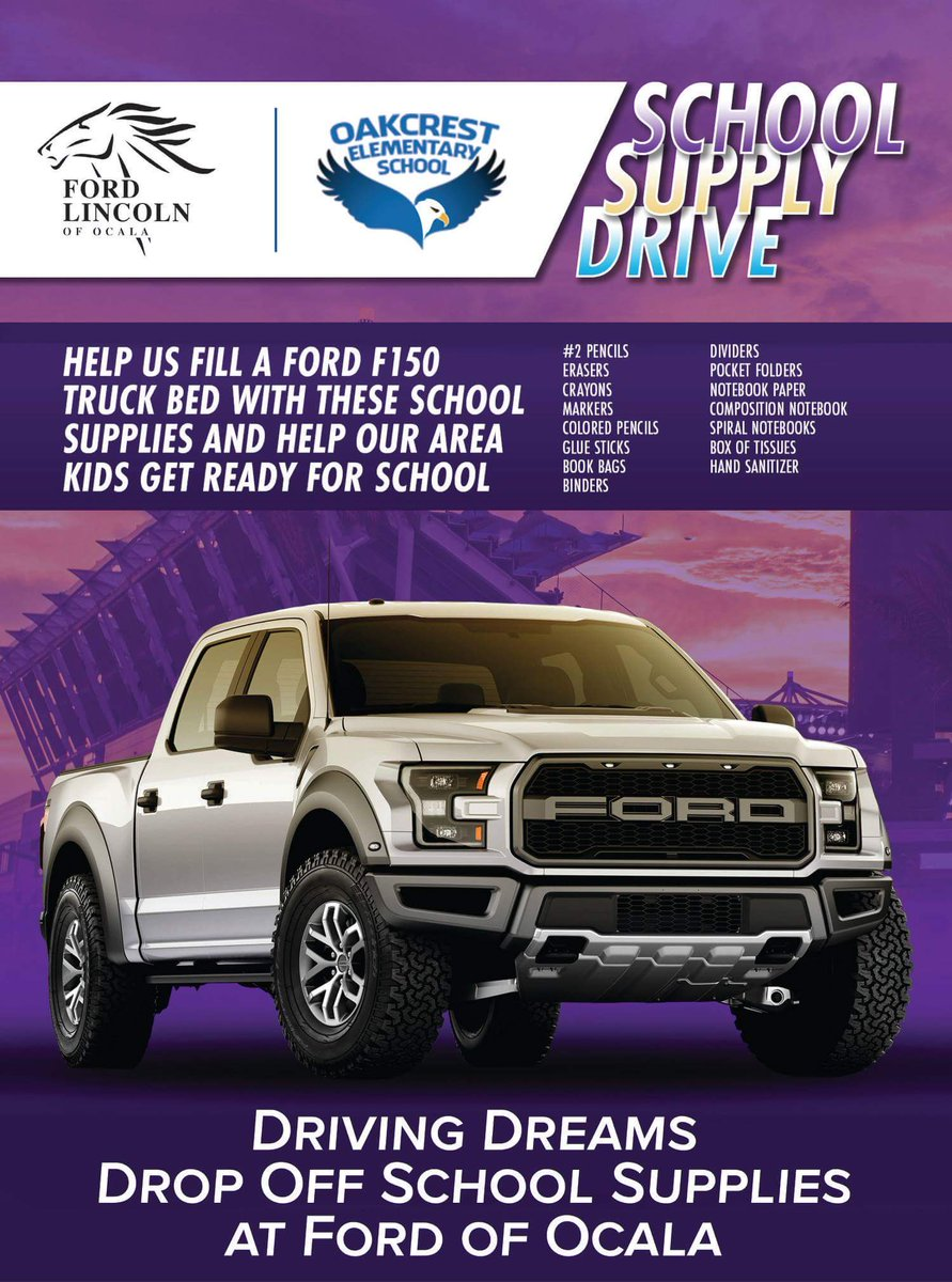 To Help Us Support Them, Drop Your Supplies In The Truck At Ford Lincoln Of  Ocala U0026 Weu0027ll Deliver Them In Time For School!pic.twitter.com/GCNSA81Ceu
