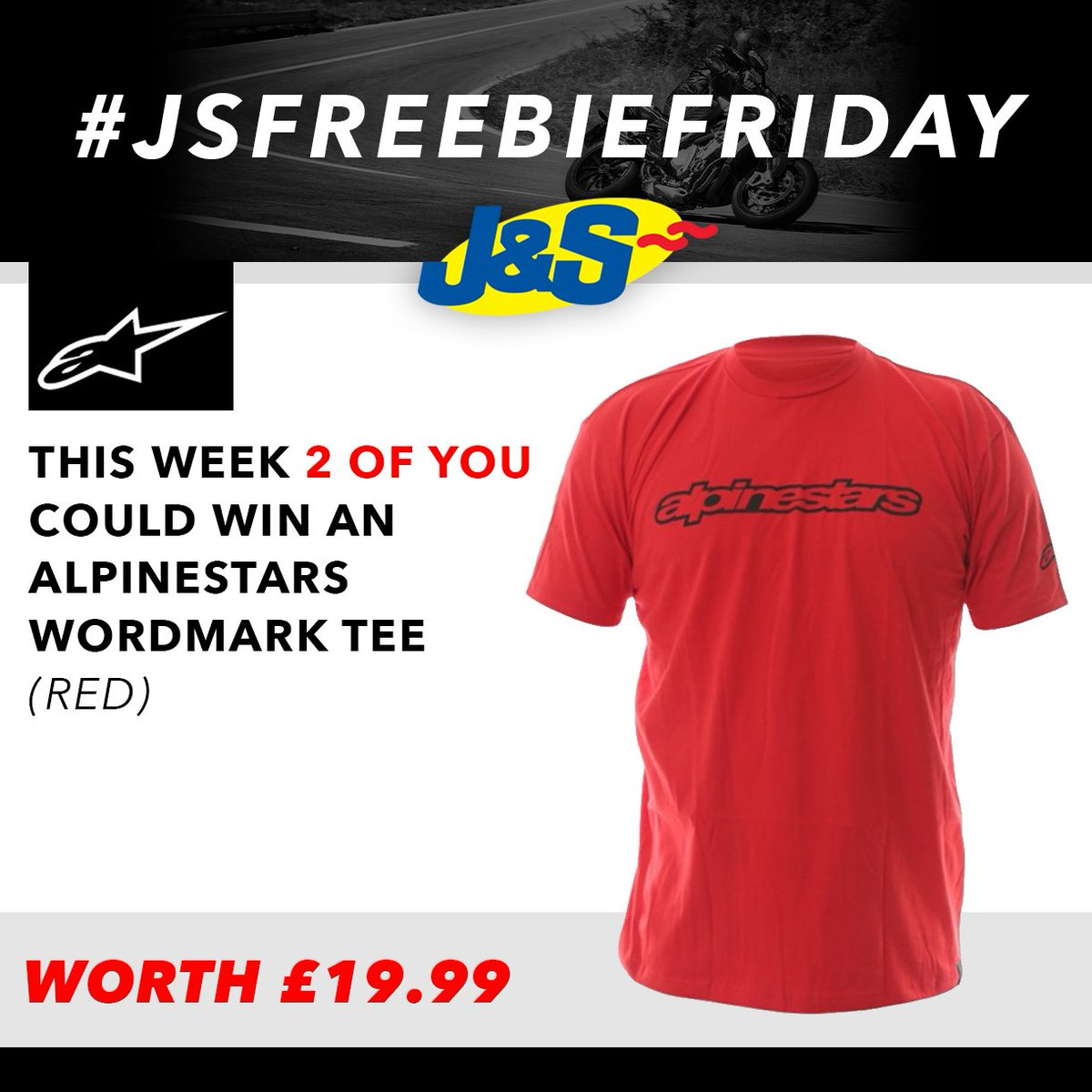 #JSFREEBIEFRIDAY follow us and retweet this for a chance to win one of two Alpinestars Wordmark T-Shirts worth £19.99 each. Ends Tues July 31st. You can also enter by signing up to our newsletter here:  Happy Friday everyone!