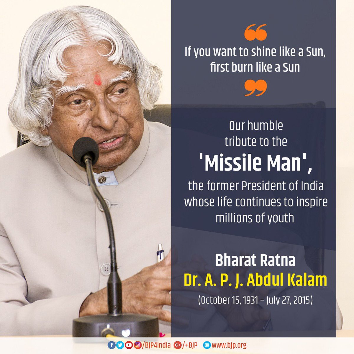 king of fire bharat ratna dr a p j abdul A tribute to dr apj abdul kalam, missile man of india, on 15th october, the great scientist, leader, motivator was born in india his name is dr dr abdul kalam won many awards in his career including highest civilian award bharat ratna by govt of india.