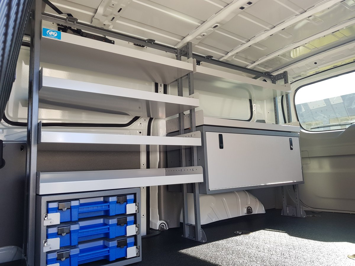This great inexpensive fit-out is an awesome, strong set up that maximises the space at the side of the vehicle leaving an abundance of space for transporting large quantities or bulky stock. #VanShelving #CommercialVehicle #VASShelving #VanRacking #VanStorage