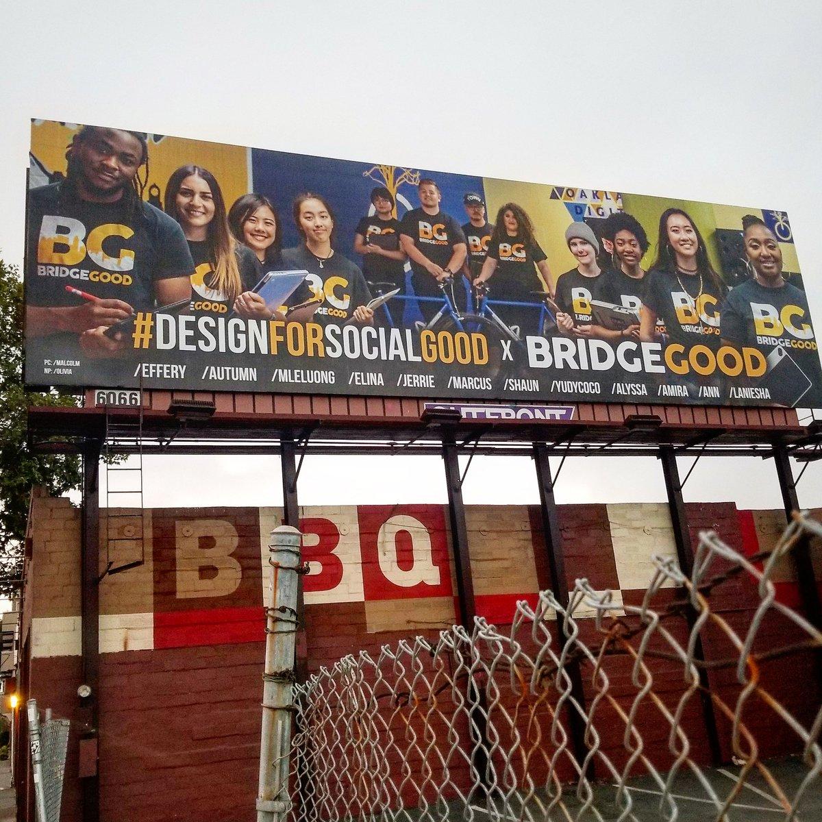 Incredibly honored to work alongside dynamic, creative, and inspiring leaders. #DesignForSocialGood with #BRIDGEGOOD + #OaklandDigital | 48-feet of #billboard #inspiration at Linden St. &amp; 34th St. in #Oakland | #InspireOakland<br>http://pic.twitter.com/o8zocBSzlk