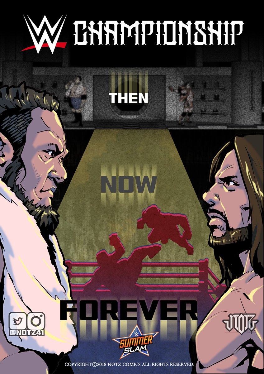 No matter how busy I am I should draw this. In my age they r my Bret and Shawn. They r my Hulk and Warrior. They r my Favs. Cant wait @SummerSlam Finally @SamoaJoe vs @AJStylesOrg in @wwe ! #notz #notz41