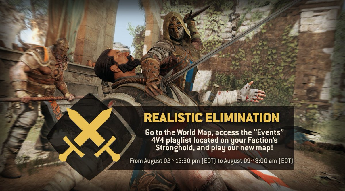 For Honor On Twitter Warriors Celebrate The Launch Of For Honor Storm And Fury And Try Out Realistic Elimination Play The Mode On Our New Map Secluded Keep Until August 9th Https T Co Edyqqvdrlg