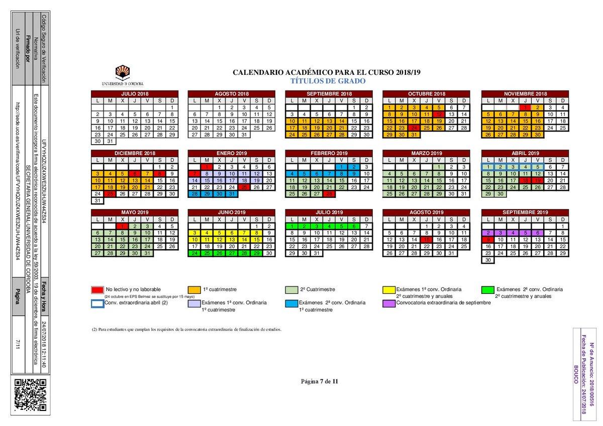 Uca Calendario Academico.Calendario Academico Uco