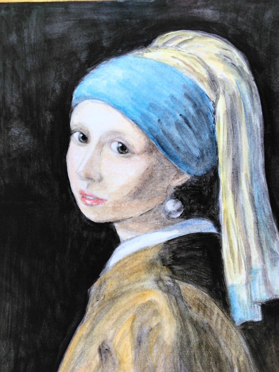 ターバン の 少女 青い