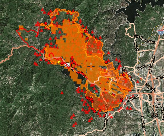 Ai6yr On Twitter Carrfire Map Of The Fire Per Fire Satellites As