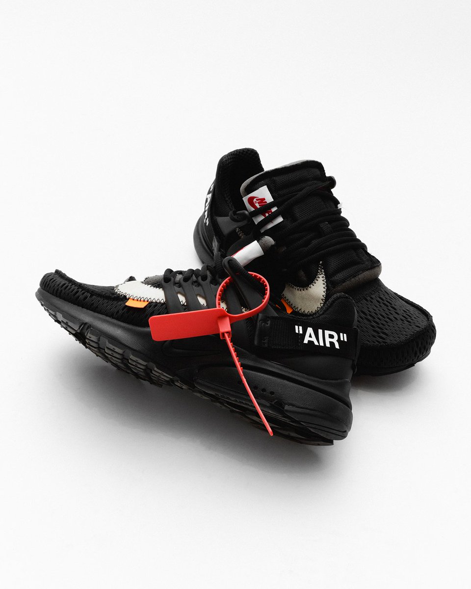 """aa607fe809a5aa Off White x Nike Air Presto """"Black"""" releases today to raffle winners. This  model takes the deconstructive design and sock-like fit and merges with the  ..."""