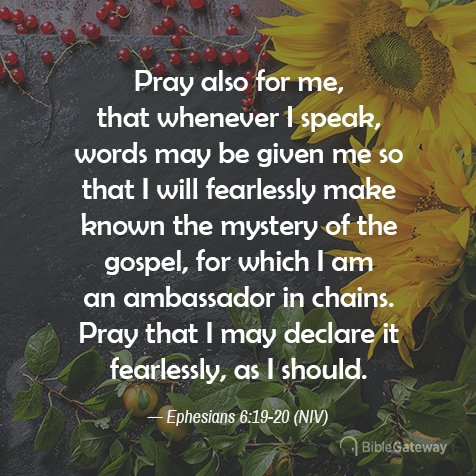 """Bible Gateway on Twitter: """"➡️Free Visual #VerseOfTheDay #votd #Bible  #theBible #HolyBible #BibleVerse #BibleVerses #NIVBible #Scripture ➡️Eph  6:19-20 #NIV ➡️https://t.co/xous2dF10l #seekfirst #BibleCelebration #chsocm  #mBible ⏩SIGN UP to receive ..."""