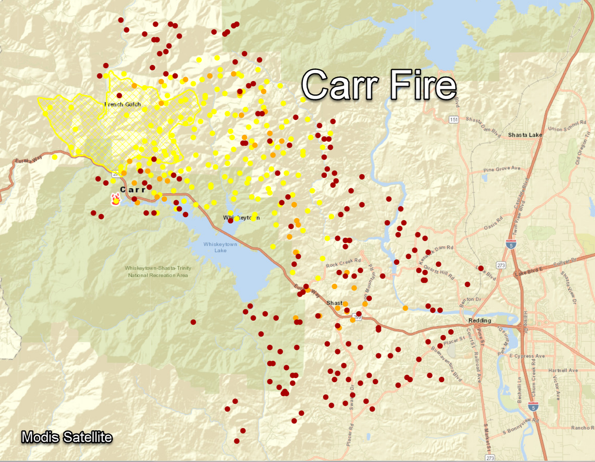 Sacramento Colorado Map.Nws Sacramento On Twitter Here Are Recent Maps Of The Carrfire
