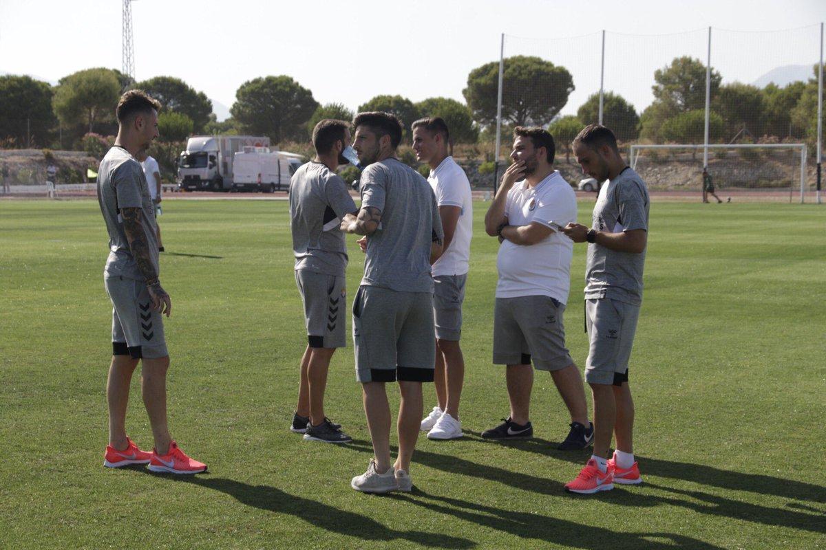 Los jugadores del Pucela, en la previa del partido.