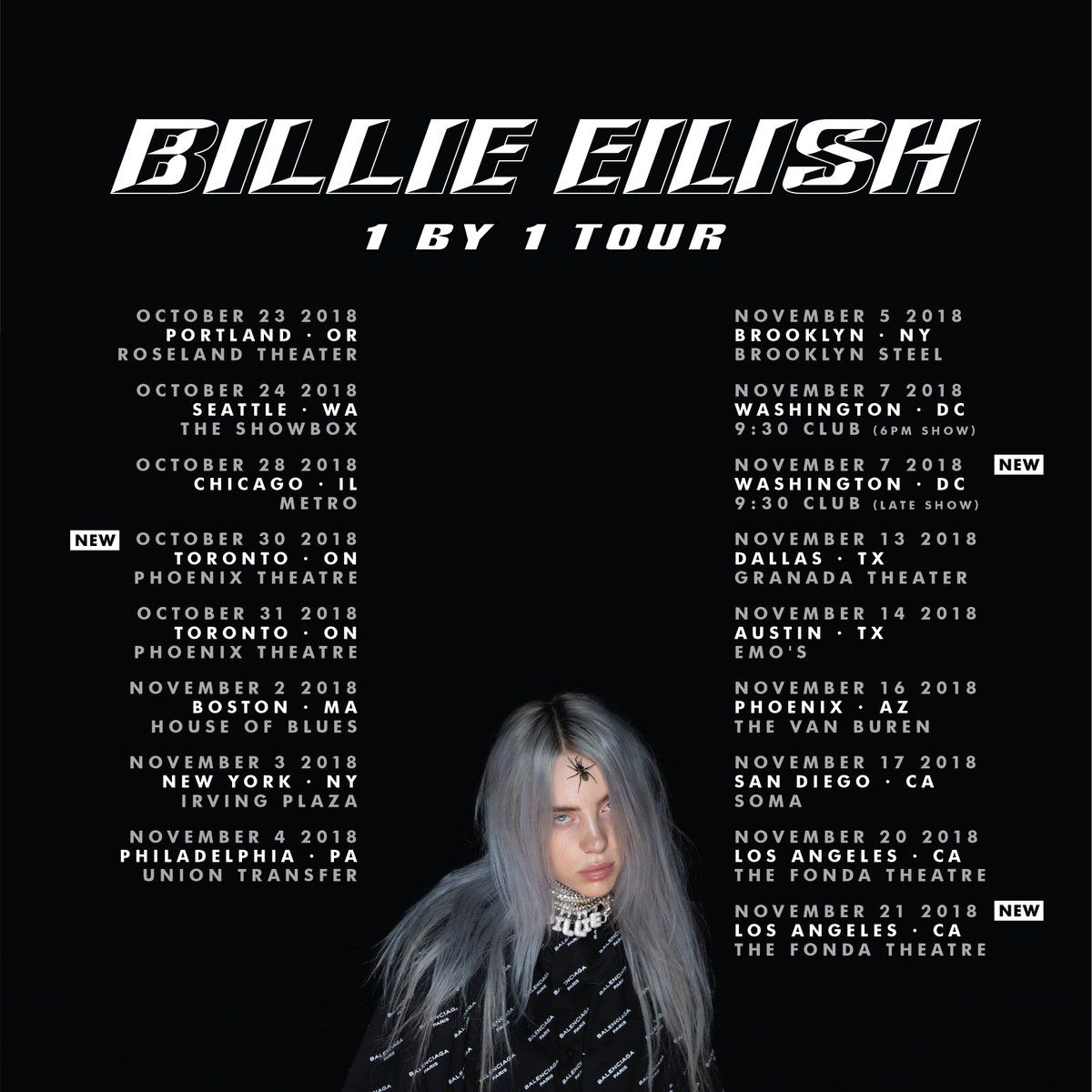 1 BY 1 TOUR ON SALE NOW billieeilish.com