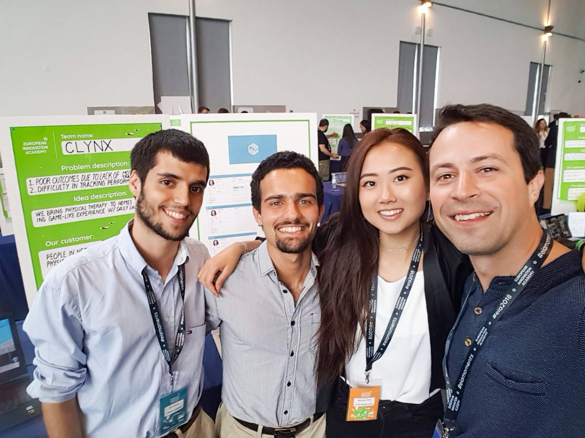 Team Clynx, who are helping patients recover faster and more efficiently, through a game-like experience, with the Chilltime CEO who was their Chief Mentor @EIAinnovate, an event filled with talented students from all around the world! #innovationacademy https://t.co/YjzkghylFF https://t.co/w10S3aHxGN