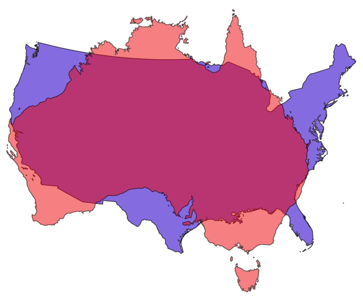 onlmaps on twitter which is bigger the contiguous usa or australia httpstcolmsuxlu5yk
