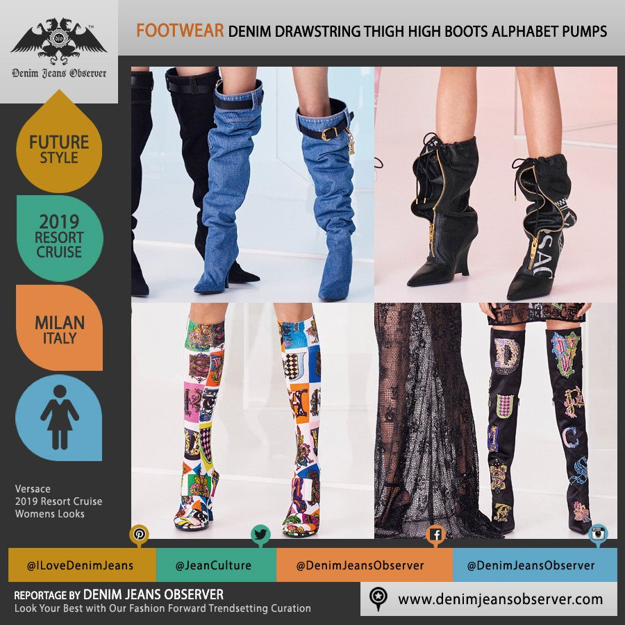 a4d8eb62c6dc Versace 2019 Resort Cruise Womens #Versace #thighhigh #boots #leggings  #alphabet #pumps #heels #drawstring #zipper #shoes #embroidery #bedazzled  #beads ...