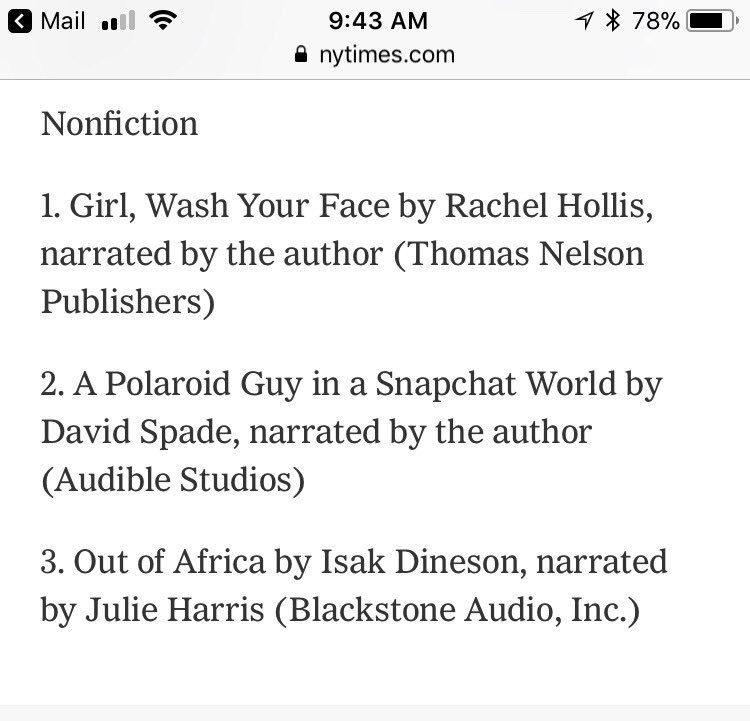 Thanks for getting my audiobook to #2 first week!  ���� https://t.co/3h6GHEZbgV