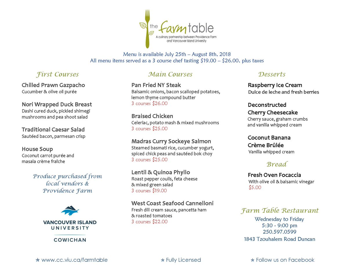 VIU Cowichan On Twitter Check Out The New Menu And Make Your - Farm and table reservations