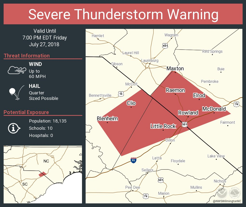Maxton Nc Map.Nws Wilmington Nc On Twitter Severe Thunderstorm Warning Including