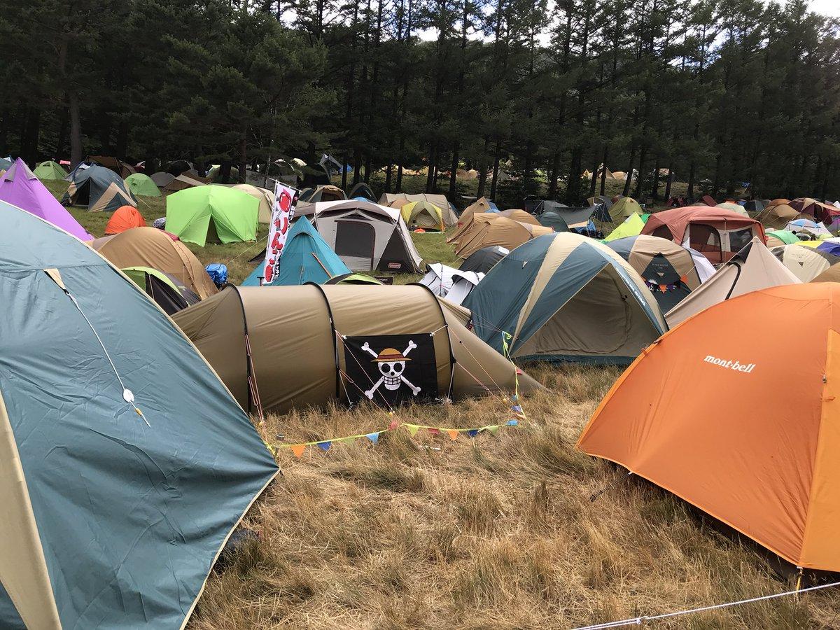 フジロックのテントサイトの崩壊前の画像