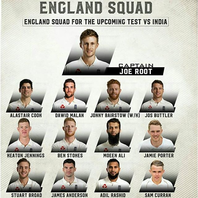 ENGLAND squad for the upcoming 1st Test match against INDIA ! ���� #england #ipl2018 #ipl #cricketnews #ipl11 https://t.co/on7HH1TmSx
