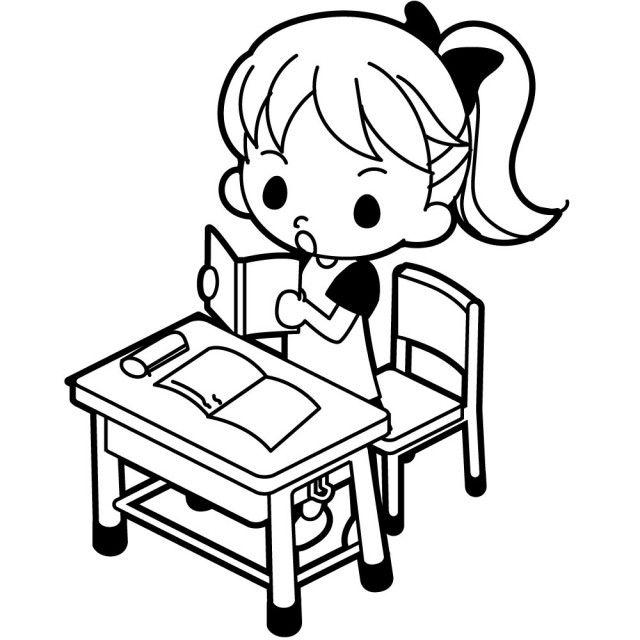 新作イラスト立ち上がって教科書を音読する女の子のイラストです