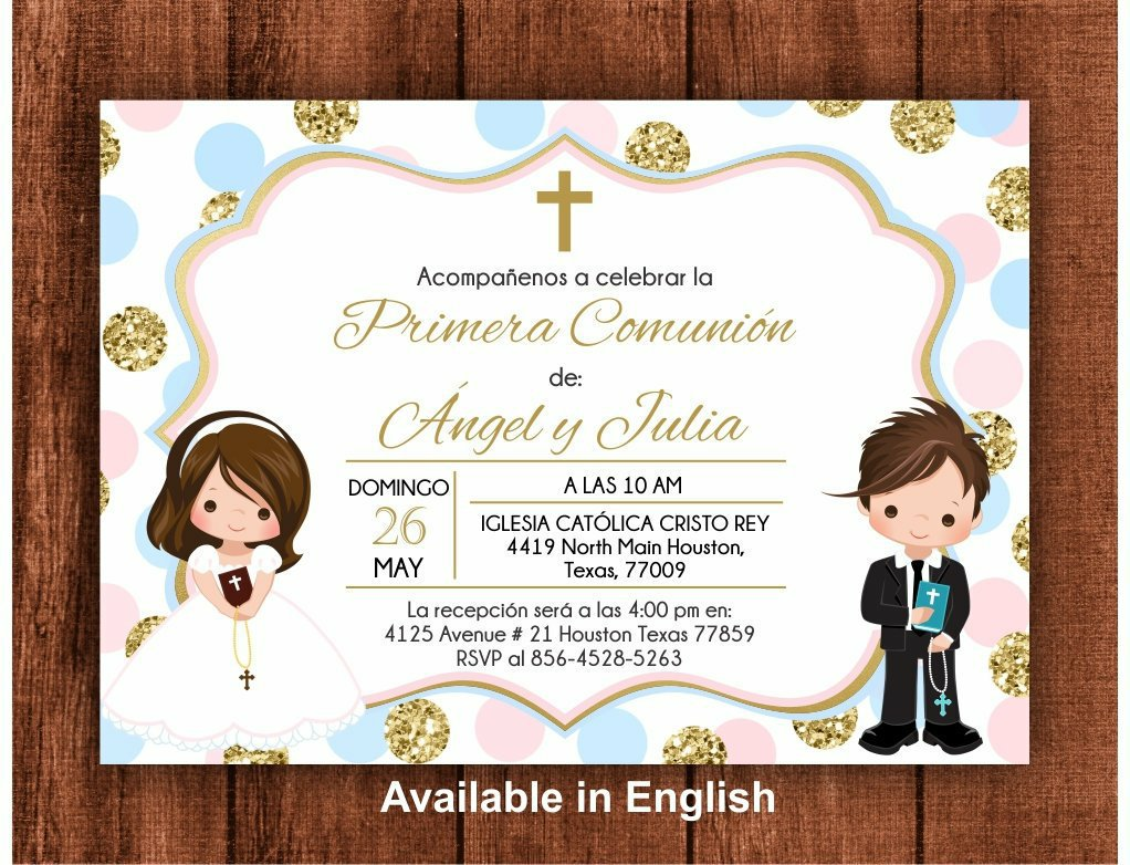 PrintablePartyC Etsy First Holy Communion Invitation Siblings