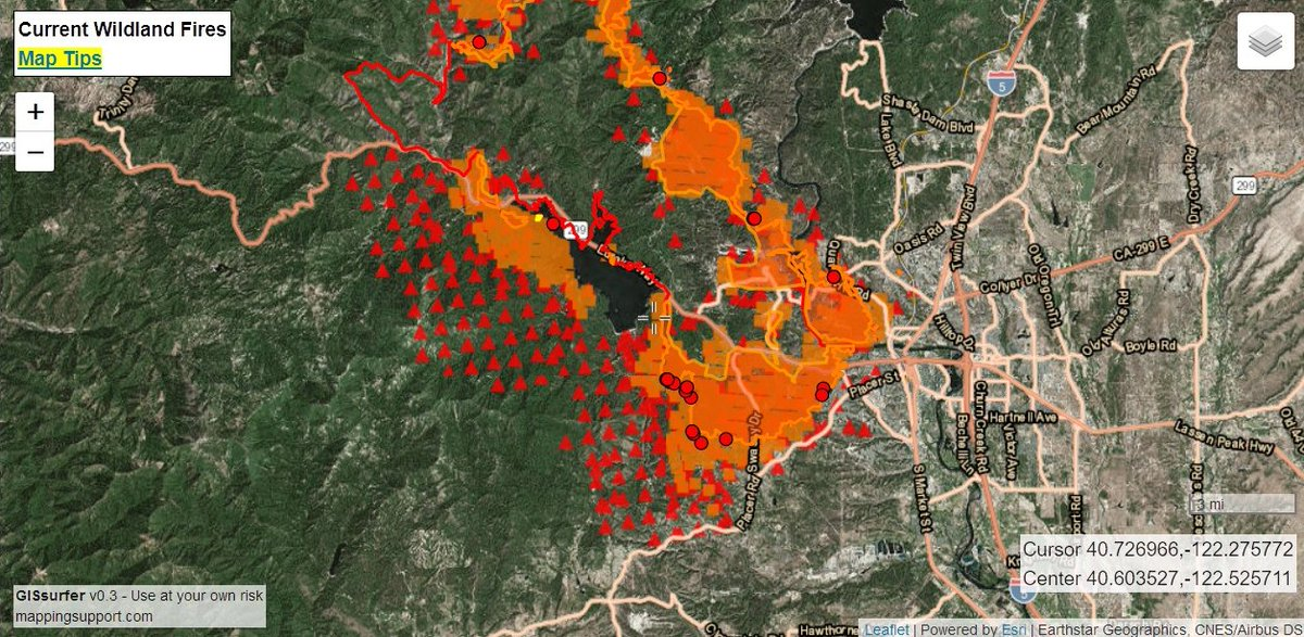 "AI6YR on Twitter ""Interactive fire detection map for CarrFire"