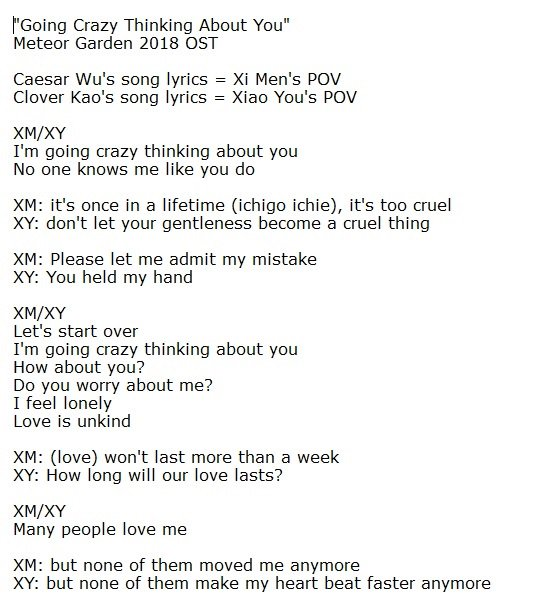 Ximenteahouse On Twitter I Put Together Translation Of Caesar Wu And Clover Kao S Song Lyrics Going Crazy Thinking About You Parts Which Are Different I Separated Them Into Xm And Xy Because
