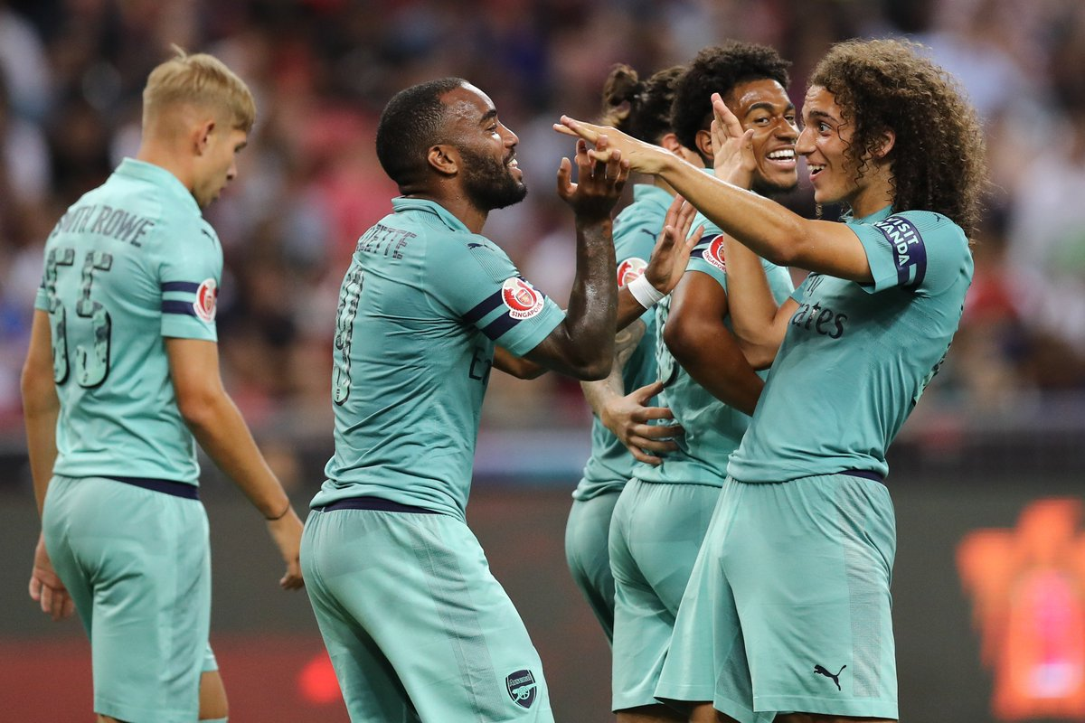 Image result for Lacazette scores twice as Arsenal thrash Paris St-Germain 5-1