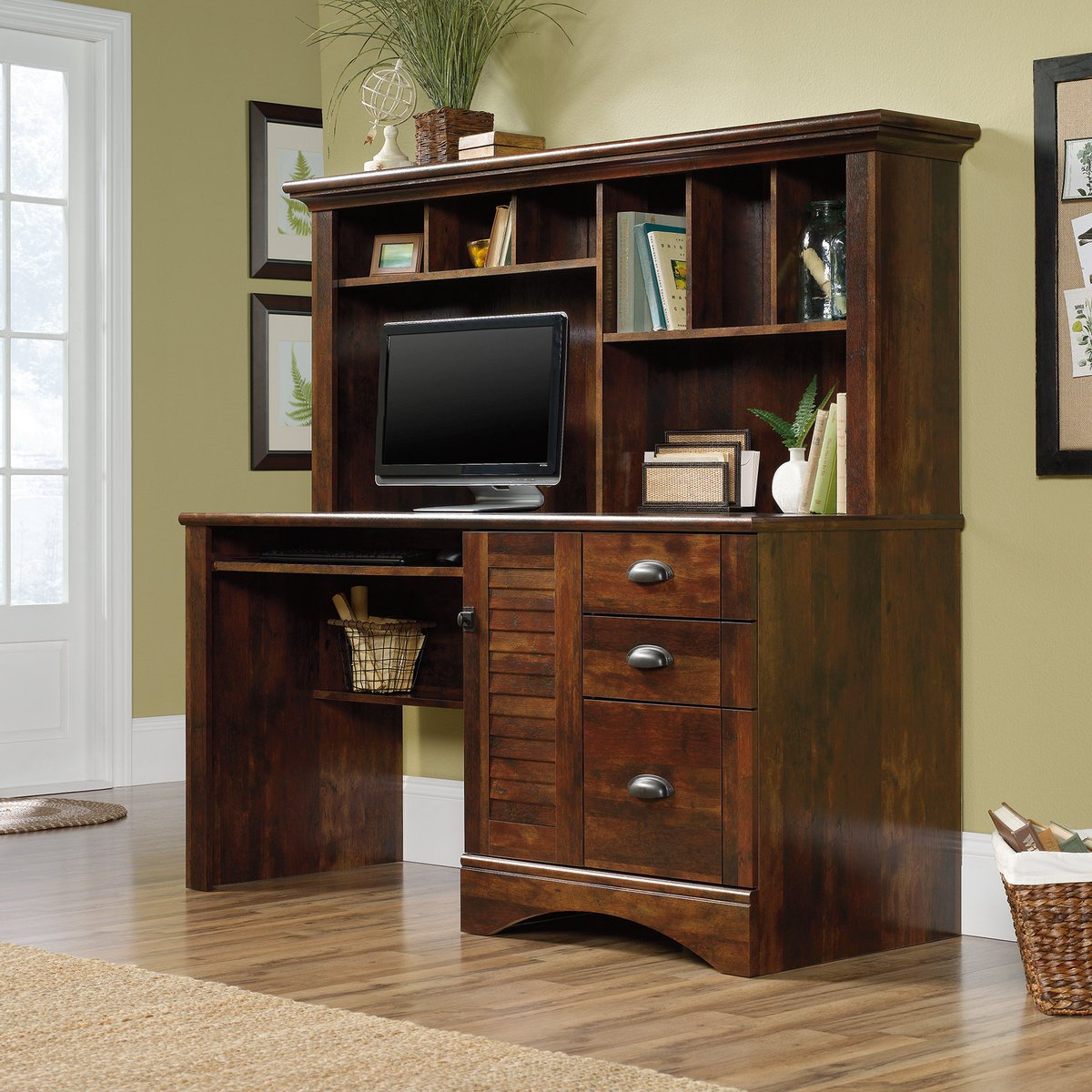 Brown Computer Desk With Hutch Https Www Rcwilley Furniture Home Office Desks 110772989 Cherry View Jsp